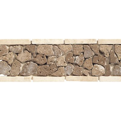 Daltile Travertine Collection Walnut  (pebble Accent) Beige/Taupe TS19412BR1P