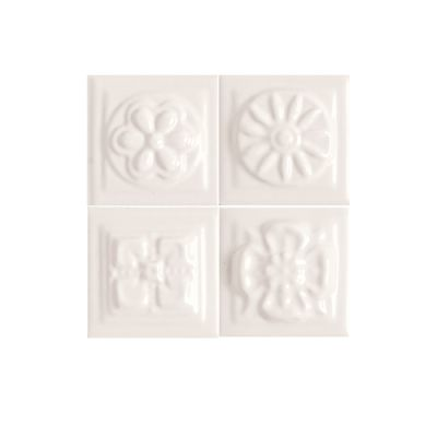 Daltile Fashion Accents 100 White Bouquet Insert 2″ X 2″ (set Of 4) White/Cream FA5022DOTS1P