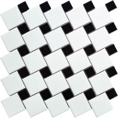 Emser Spin Porcelain Matte White/Black W95SPINWHBK1111MO