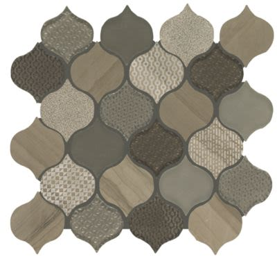 Mohawk Saint Dennis Stone, Glass Taupe T841-SD39-12.125×12.75-MosaicFieldAccentTile-Stone,Glass