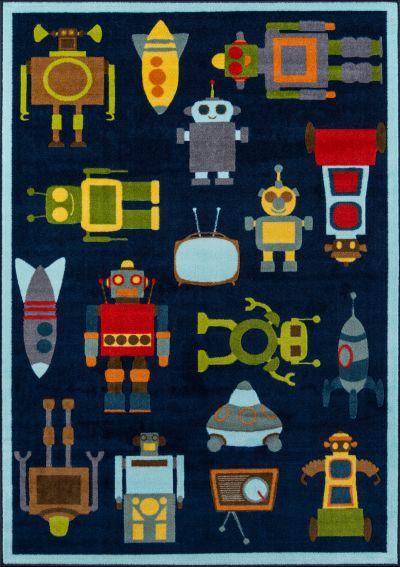 """Momeni Mini Mo Pla-2 Robots Blue 3'3″ x 4'11"""" PLAYTPLA-2BLU334B"""