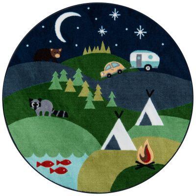 Momeni Mini Mo Pla-4 Happy Camper Blue 4'4″ x 4'4″ Round PLAYTPLA-4BLU444R