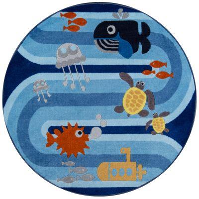 Momeni Mini Mo Pla-6 Sea Life Blue 4'4″ x 4'4″ Round PLAYTPLA-6BLU444R