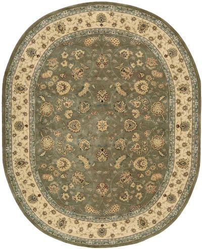 Nourison 2000 Traditional, Olive 7'6″ x 9'6″ Oval 2003LV6X9