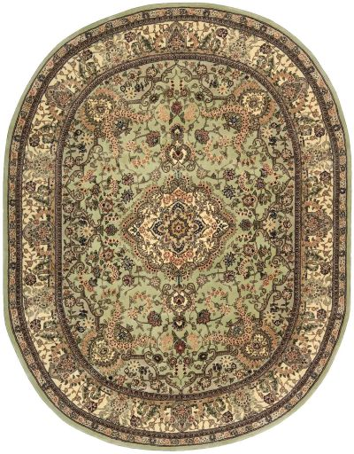 Nourison 2000 Traditional, Light Green 7'6″ x 9'6″ Oval 2005LGHTGRN6X9