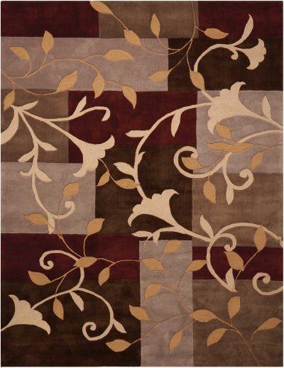 Nourison Contour Patchwork/Bohemian, Floral/Botanical, null Mocha 5'0″ x 7'6″ CON01MCH5X8