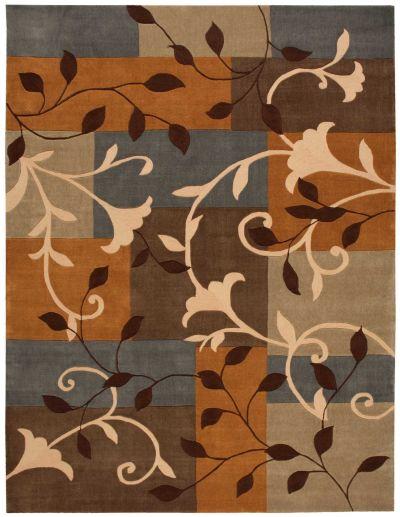 Nourison Contour Patchwork/Bohemian, Floral/Botanical, Multicolor 5'0″ x 7'6″ CON01MLTCLR5X8