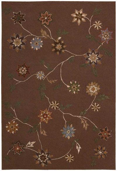 Nourison Contour Floral/Botanical Brown 7'3″ x 9'3″ CON05BRWN6X9