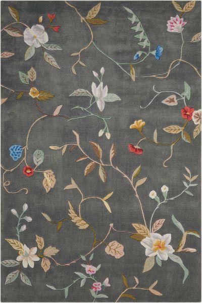 Nourison Contour Floral/Botanical, Slate 7'3″ x 9'3″ CON12SLT6X9