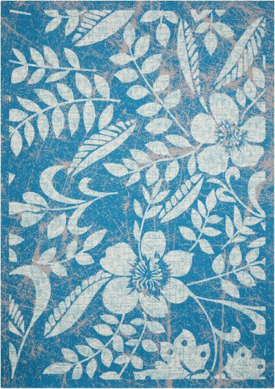 """Nourison Coastal Outdoor, Floral/Botanical, null Blue 7'9″ x 10'10"""" CSTL3BL8X10"""