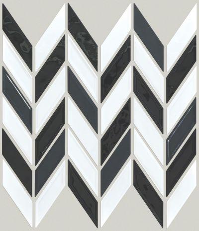 Shaw Floors Ceramic Solutions Geoscape Chevron Black/White Blend 00151_CS46X