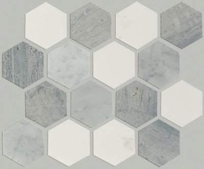 Shaw Floors Ceramic Solutions Chateau Hexagon Mosaic Bianco C Blue G Thas 00511_CS56P