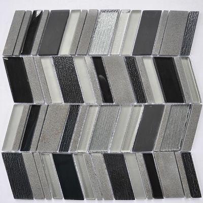 """Casa Roma ® Glass Boutique Black (11.6""""x11.8"""" Marble Chevron) CASH751"""