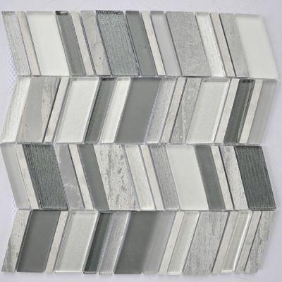 "Casa Roma ® Glass Boutique Grey (11.6""x11.8"" Marble Chevron) CASH754"