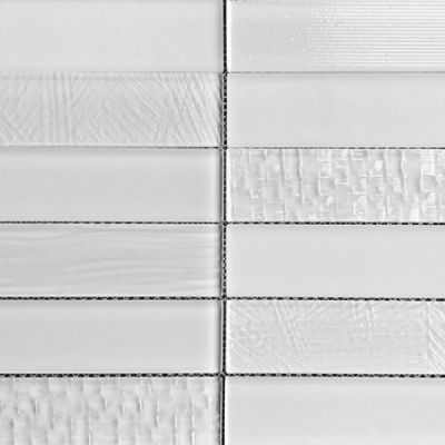 Casa Roma ® Glass Brix Frost (2×8 Stacked Mosaic) CASMG0128MCP