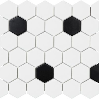 Casa Roma ® Wall Art White & Black (Matte Hexagon Mosaic) SAN51076