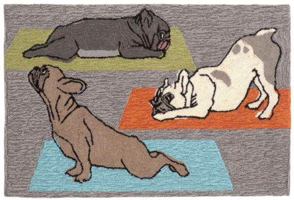 Liora Manne Frontporch Yoga Dogs Grey Collection