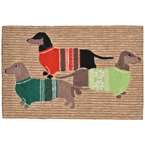 Liora Manne Frontporch Holiday Hounds Natural Collection
